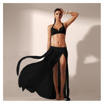 Cyber Lady Women'S Stretch Perspective Split Gauze Beach Skirt ( Black ) Price Philippines