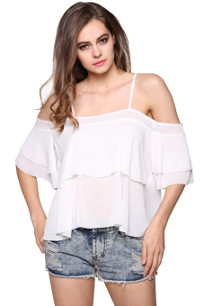 ASTAR Women Spaghetti Strap Off Shoulder Cascading Ruffle Blouse (White) Price Philippines