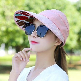 Harga Fashion Korean Style Women Summer Sun Hat Anti-UV Wide Brim Beach Visor Caps Adjustable Pink - intl