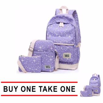 GMY Buy One Take One 3Pcs/Lot High Quality Durable Star BackPack (Violet) Price Philippines