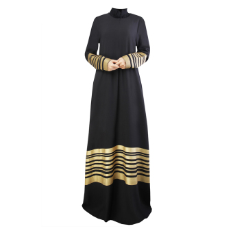 Muslim Women Long-sleeved Gold Seal Strip Dress (Black) - Intl Price Philippines
