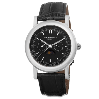 Harga Akribos XXIV Men's Black Leather Strap Watch AK632SSB