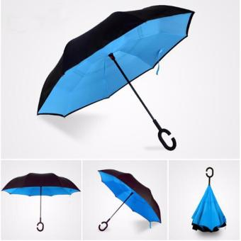 Harga Inverted Umbrella Double Layer Cars Reverse Umbrella Windproof UV Protection With C-Shaped Handle - intl