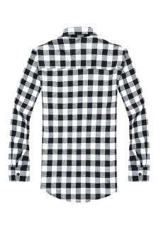 Harga Casual Plaid Button-up Long Sleeve Shirt (Black/White) (Intl)