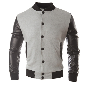 Men's Slim Fit Leather Jackets French Grey Price Philippines