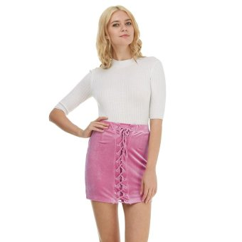 Harga Gamiss Lace Up Velvet Pencil Skirts Womens Mini Skirt Elastic Bodycon High Waist Skirts(Pink) - intl