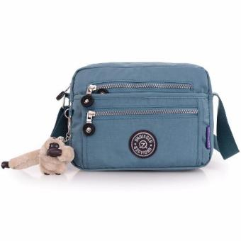 Harga Skadi JQE-6370 Women's Korean Fashion Bag Nylon Waterproof Multi-pocket Mini Bag Crossbody Shoulder Hand Bag Best Gift With Free Bag Charm(Smoke Blue)