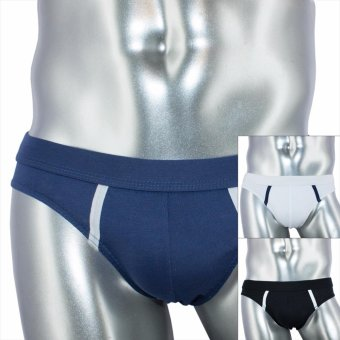 Harga Logan 3pc Regular Fit Cotton Stretch Brief DSN# 9955-1 by Le Brian (Black-White-Moonlight Blue)
