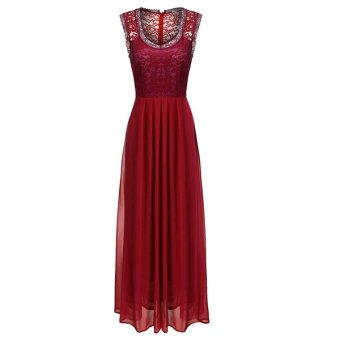 Supercart ANGVNS Women Casual V Neck Sleeveless Vintage Style Maxi Long Full Gown Dress ( Wine Red ) - intl Price Philippines
