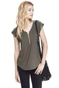 Express Mixed Texture Zip Front Blouse Price Philippines
