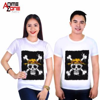 Anime One Piece Straw Hat Pirates Logo Printed Couple Shirts (White) Price Philippines