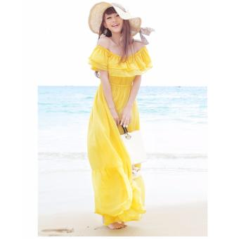 DR126 Women's slash neck ruffles short sleeve high waist chiffon maxi long dress yellow color - intl Price Philippines