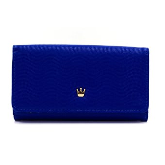Harga Ladies Multipurpose Plain Leather Wallet (Cobalt Blue)