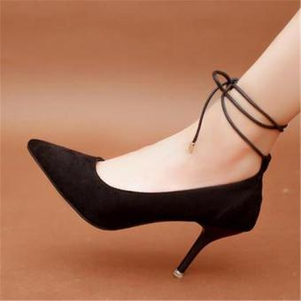 Harga Women's High Heels Shoes Ankle Strap Lace Up Stiletto Pumps Women's Black - intl
