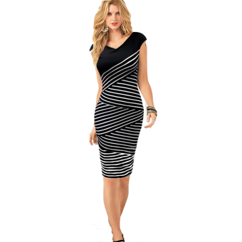Cyber V- Neck Sleeveless Striped Formal Dresses (Black) Price Philippines