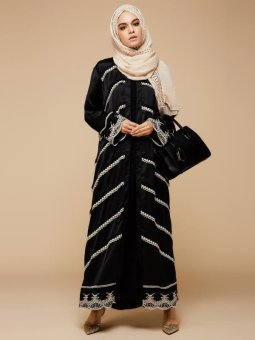 Lace Patchwork Abaya Muslim Wear Without Hijab (Black) - intl Price Philippines