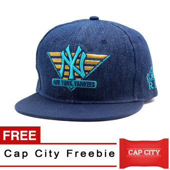 Harga Cap City Unisex Snapback NY Yankees Denim (Full Blue) with Free Cap City Freebie