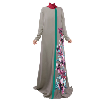 Muslim Women Long-sleeved Printed Dress (Grey) - intl Price Philippines