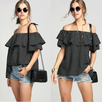 Jo.In Fashion Women Off Shoulder Slash Neck Ruffles Dot Loose Blouse Tops - intl Price Philippines