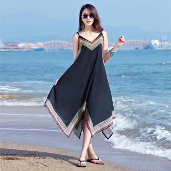 Summer Women Printed Dress V Neck Sleeveless Loose Maxi Long Beach Dress - intl Price Philippines