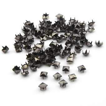 eMylo 100pcs 6mm Pyramid Square DIY Metal Studs 4 Prongs Spots Nailheads Spikes for Bag Shoes Jeans Bracelet Gun (Black) Price Philippines
