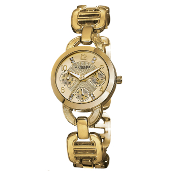Harga Akribos XXIV Lumin Women's Yellow Gold Alloy Strap Watch AK703YG
