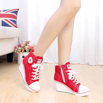 Harga Women Girls Shoes High Top Wedge Heel shoes Lace Up Canvas Sneakers 8CM Height
