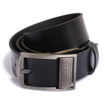Men's casual retro belt leather belt (black) Price Philippines