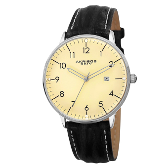 Harga Akribos XXIV Element Men's Black/Black with White Stitching Leather Strap Watch AK715WT