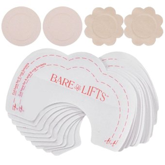 10 Pair Women Disposable Self Adhesive Breast Nipple Cover Sticker Pasties Pad + 10 Pair Bra Bare Lift Push Up Tape Set B - intl Price Philippines