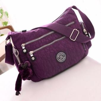 Harga Skadi JQE-8616 Side Pockets Korean Fashion Bag Nylon Waterproof Big Size Multi-pocket Bag Crossbody Shoulder Hand Bag Best Gift With Free Bag Charm(Purple)