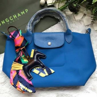Harga LC Le Pliage Neo Small Short Handle Free Twilly & Charm Original (ROYAL BLUE) Made in France Longchamp