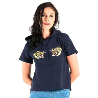 Harga OXYGEN Hooded and Printed Tee (Navy Blue)