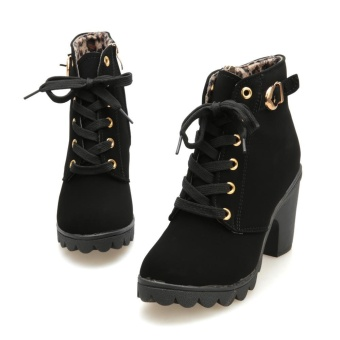 Harga Womens Fashion High Heel Lace Up Ankle Boots Ladies Buckle Platform Shoes - intl