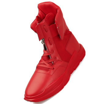 Harga Fashions PU Leather Boots Men High Top Men Casual Shoes British Style Lace-up Ankle Boots (Red) - intl