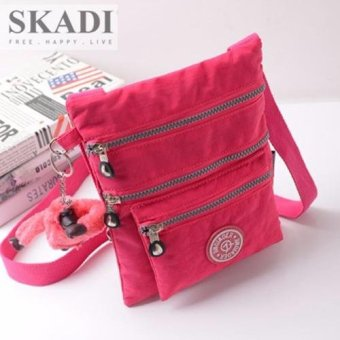 Harga Skadi Women's Korean Fashion JQE-1062 Nylon Waterproof Multi-pocket Sling Bag Messenger Bag Best Gift With Free Bag Charm(Rose Pink)