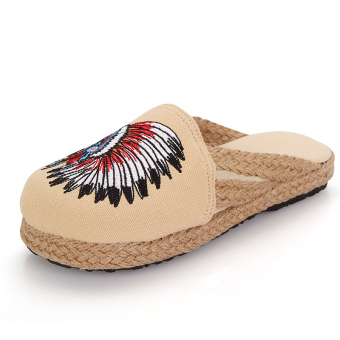 Indoor national style linen slip sandals and slippers (Indian off-white)