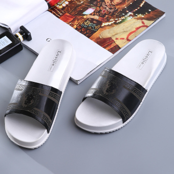 Indoor simple plastic men home sandals and slippers home slippers (Black)