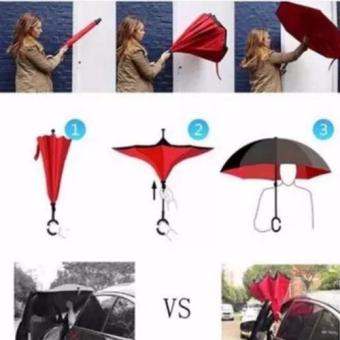 Innovative Double Layer Inverted Umbrella (red) - 2