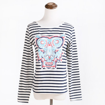 INS cute black and white long-sleeved Junior High School Top T-shirt