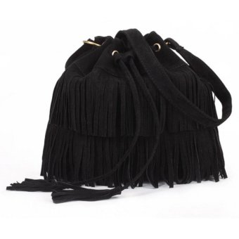 Isabel K037 Korean Fashion Fringed Bucket Bag (Black)