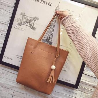 Image Detail Isabel K041 Shoulder Bag with Sling Bag and Pouch (Tan) Full