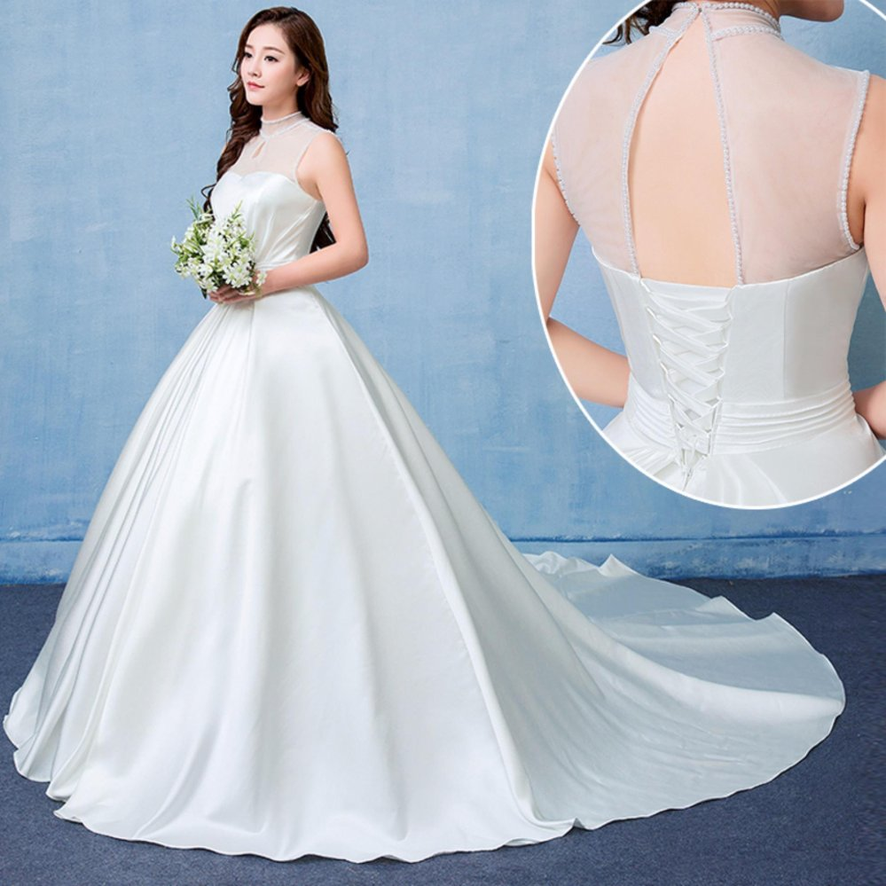 Philippines | Ivory Simple Ball Gown Wedding Dress Classical High ...