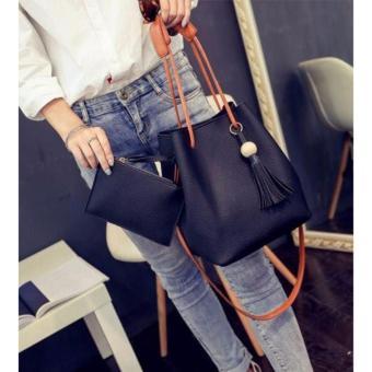 J&J Korean 2 in 1 Bucket Bag and Make up Pouch Sling Bag (Black) - 2