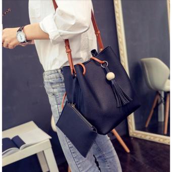 J&J Korean 2 in 1 Bucket Bag and Make up Pouch Sling Bag (Black) - 3