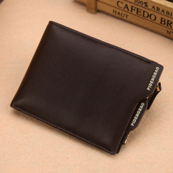 Japan and South Korea men short zip youth leather wallet (Brown color cross)