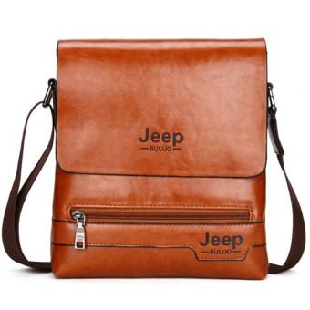 Jeep Cowhide Leather Crossbody Bag Shoulder Bag Men Tote Bag Business Casual Messenger Bag (Big Size / Coffee) - 3