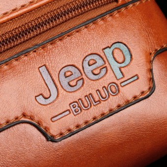 Jeep Cowhide Leather Crossbody Bag Shoulder Bag Men Tote Bag Business Casual Messenger Bag (Big Size / Coffee) - 5