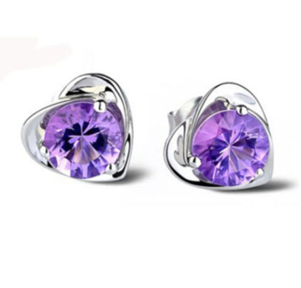 Jetting Buy 925 Silver Plated Rhinestone Heart Earrings
