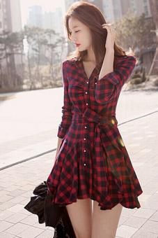 Jetting Buy Women Blouse Long Sleeve Swing Hem Dress Black+Red - picture 4